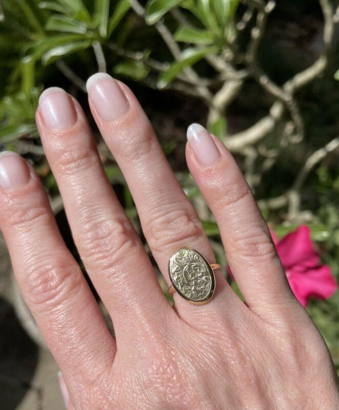 9 Ct Gold Antique Cufflink Ring