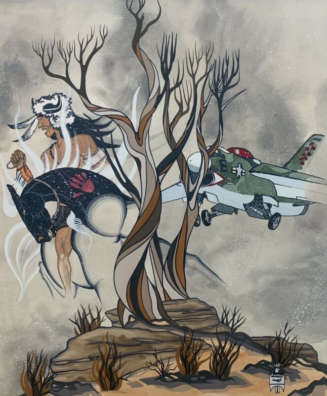 ANGELO JOHN Navajo Artist Original Signed Painting First Indian Pilot USAF 1968