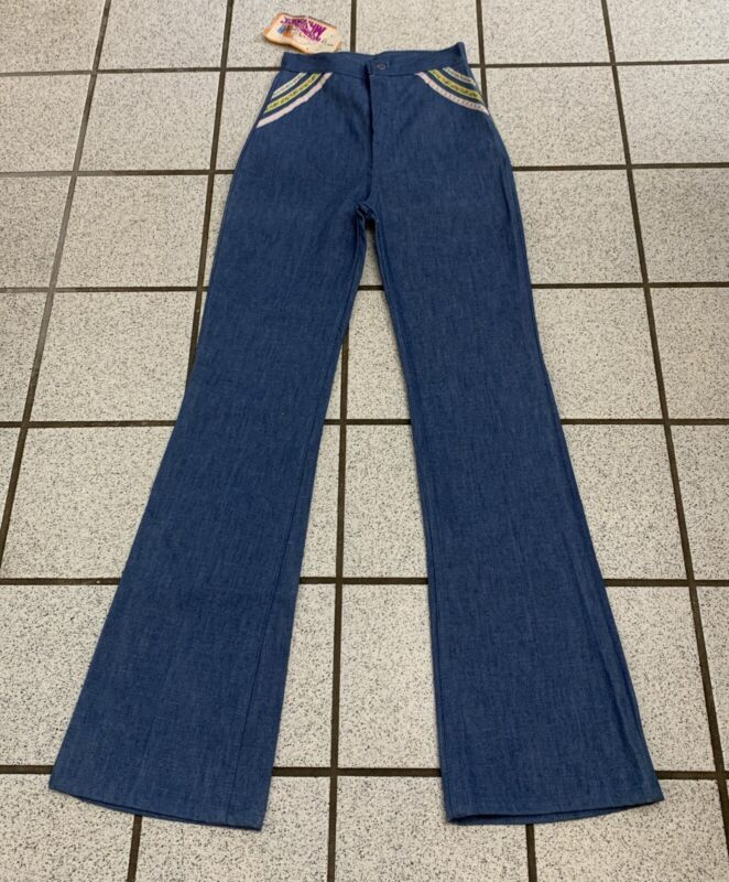 Vintage Girls Jeans Bell Bottom Disco 24 X 31 Tall Hippy Flare 1970s NEW 14 Slim