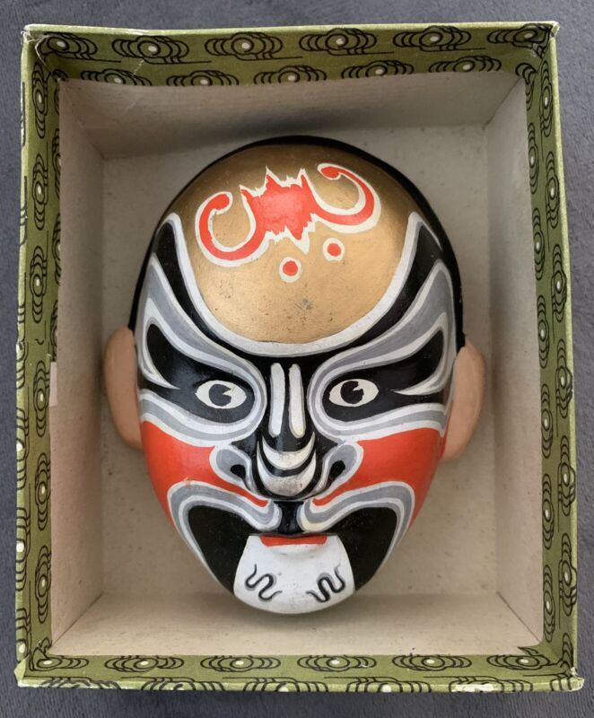 """Chinese Clay Painted Opera Mask in Box 4"""" High x 3.5"""" Wide x 1.75"""" Deep Exc"""