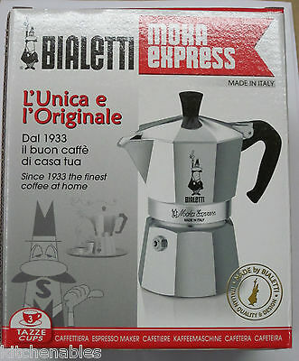 Bialetti Moka Express 06799 Stovetop Espresso Maker Pot Coffee Latte 3 cup
