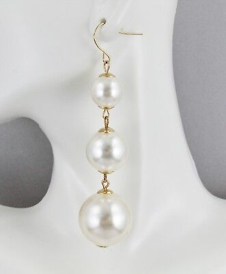 Gold faux pearl earrings graduated beads dangle 3 1/8