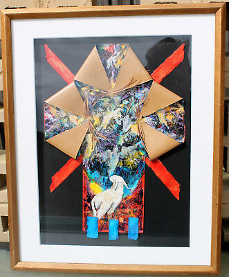 Colorful Mix Media Pop Art Lamb At Heaven's Gate Painting Religious Picture USA