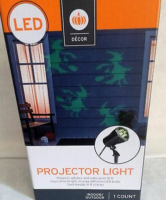 LED GREEN PROJECTOR LIGHT HALLOWEEN WITCHES AND CATS INDOOR/OUTDOOR PROJECTS 15'