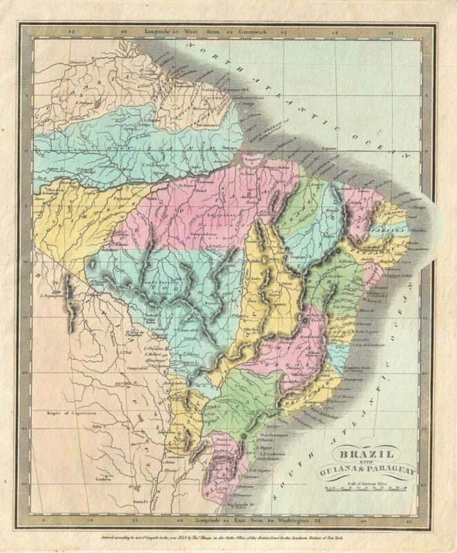 1834 Burr Map of Brazil, Guyana, Paraguay and Uruguay
