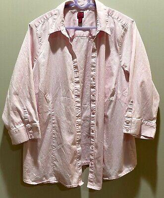 212 Collection women's dress shirt button front 2X plus size PINK v-neck  Dress Shirt Neck Size