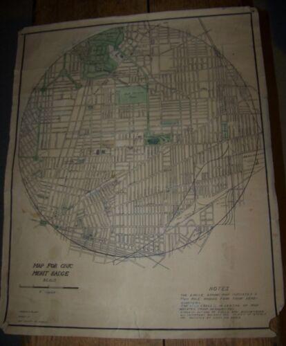 c1950 VINTAGE BUFFALO NY BOY SCOUTS of AMERICA MAP BSA CIVIC MERIT BADGE