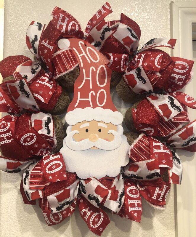SANTA CLAUS 🎅 CHRISTMAS Wreath BURLAP DECO MESH Farmhouse Whimsical HO HO HO