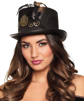 Ladies Victorian Steampunk Black Top Hat Burlesque Riding Gothic Halloween - Victorian Burlesque Kostüm