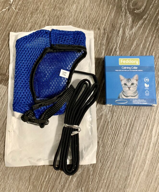 New Fedciory Calming Collar For Cats Bundle With Leash Harness Set Cat Walking