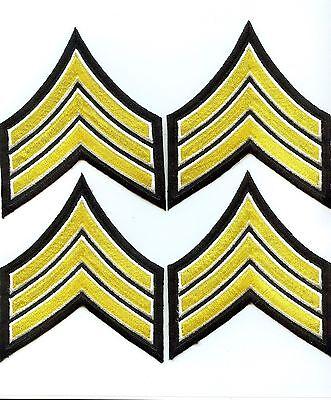 Brand New 4 Sergeant Embroidered Chevron Stripes Yellow WhiteBlack Police Patch