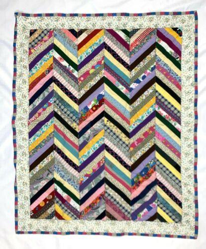 """VINTAGE Patchwork BABY QUILT  Multi Chevron Stripes   Cotton / Flannel   34""""x42"""""""