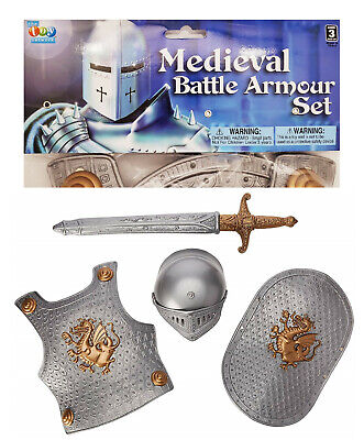 Medieval Battle Armour Kid's Knight Set (Plastic) Crusader Ancient Roman Armor  (Medieval Battle Armor)