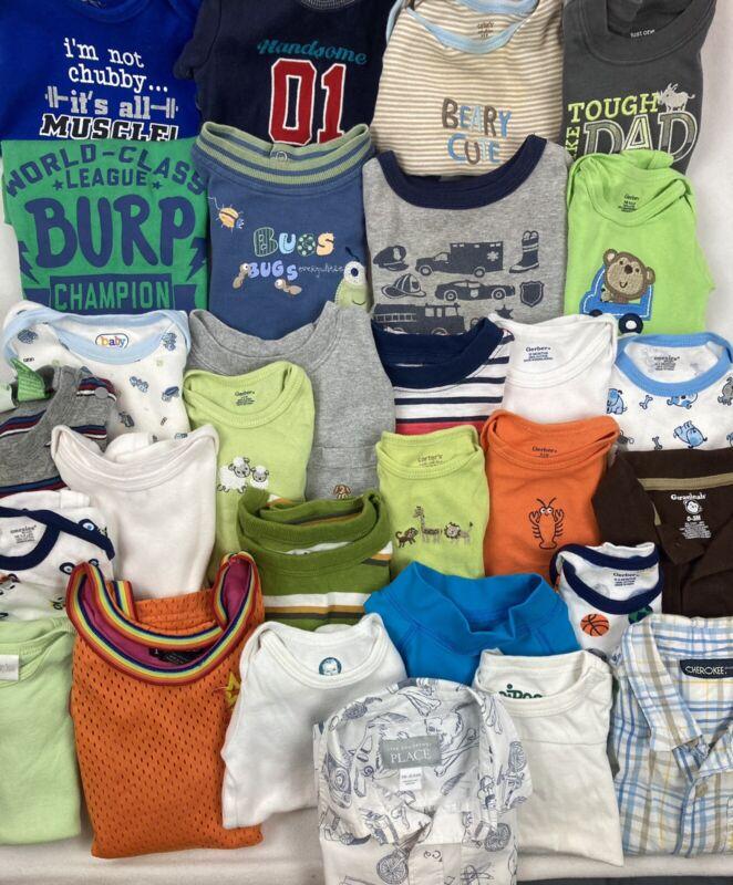 Lot Baby Boy 0-24mo Summer Shirts 18 One Piece + 11 Shirts = 29 Items