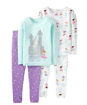 Princess Castle Glitter Girl's Pajamas 2 PAIR Carters NWT Long Sleeve 12 months