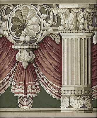 VICTORIAN RED DRAPERY SWAG ON GREEN WITH COLUMNS WALLPAPER BORDER