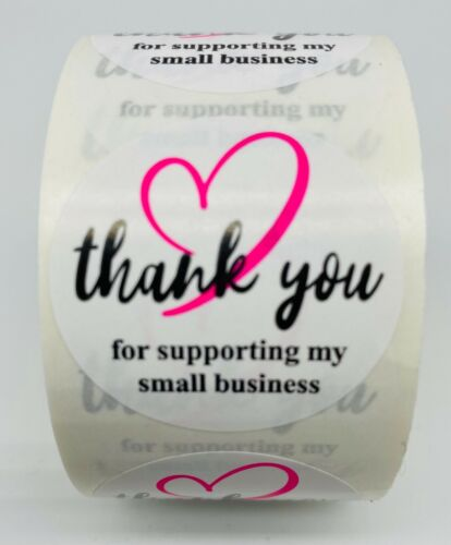 "500 1.5"" Pink & Black Thank You For Supporting My Small Business Mailing Labels"
