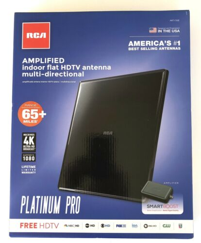 RCA Amplified Indoor Flat HDTV Antenna Platinum Pro 65+Range