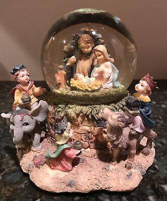 "Musical Waterball Globe Christmas Nativity Scene Away in A Manger 6"" tall"