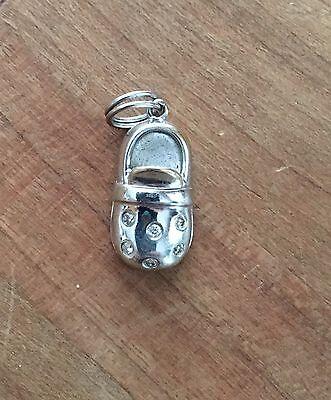 Diamond Bootie Charm - 14k White Gold Diamond Baby Bootie Charm