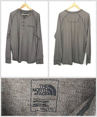 The North Face Men's Grey Long Sleeve Heavy Cotton Pocket Henley Shirt - 2XL
