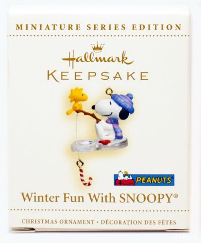 Winter Fun with SNOOPY NEW Hallmark Miniature 2006 Ornament WOODSTOCK Ice Fish