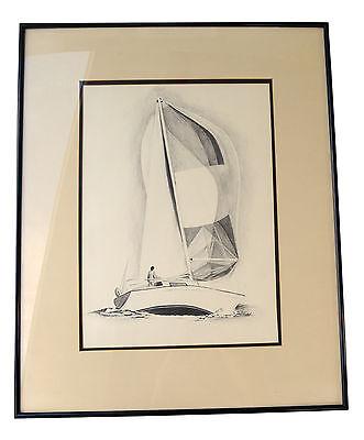 Vintage Original Signed Pencil Drawing Sailboat Sailing Boat Serenity Peace