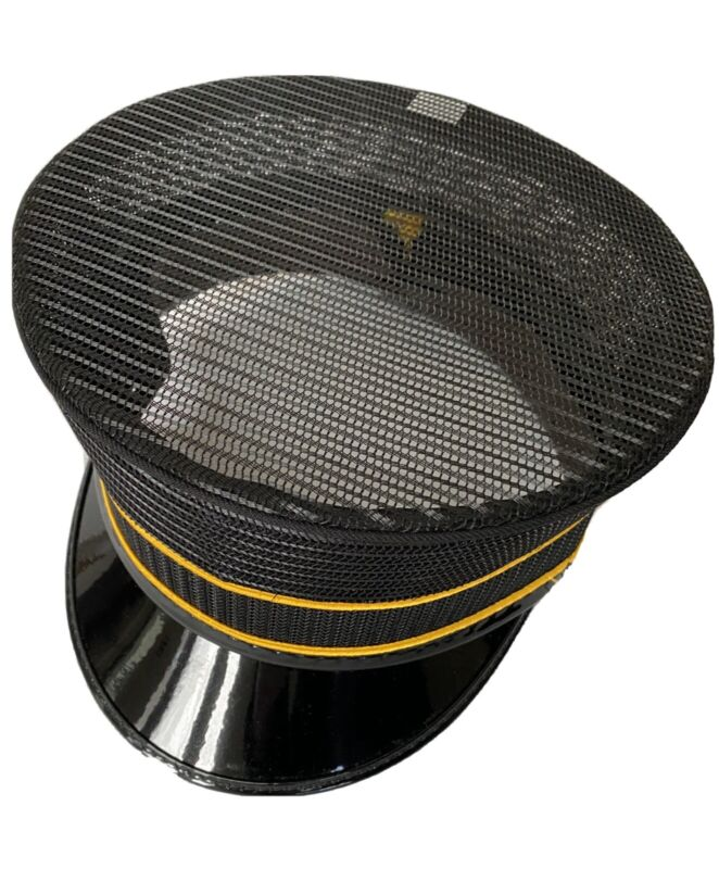 Railroad or Trolley Conductor Hat 7 1/4, Brand New, Black, All Mesh.