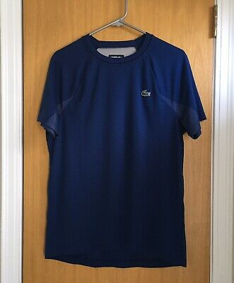 Men's Lacoste Sport Novak Djokovic Size L Blue Jersey Shirt Supporter Collection