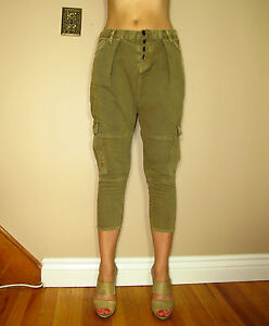 198-Hudson-Subversion-Harem-Drop-Crotch-Cargo-Army-Green-Distressed-Jeans-27-28