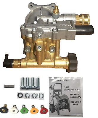 Free Tips Horizontal Pressure Washer Brass Pump 3100 Psi Replaces Triplex Honda