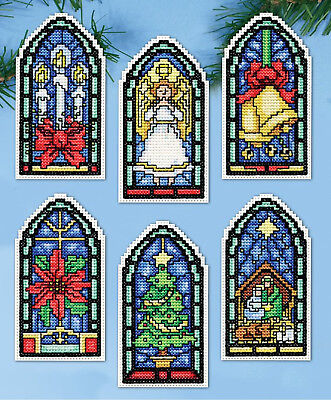 Cross Stitch Kit ~ Design Works Stained Glass Ornaments - Stained Glass Cross Craft