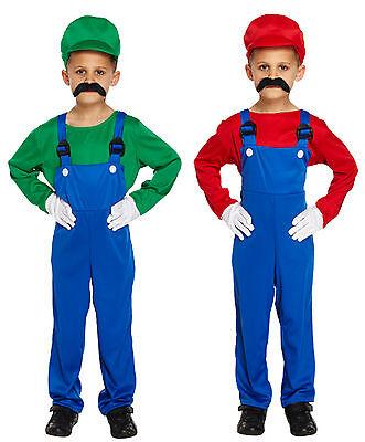 80s Super Mario Luigi Plumber Workman Boy Girl Green Red Video Game Fancy - Luigi Girl Kostüm