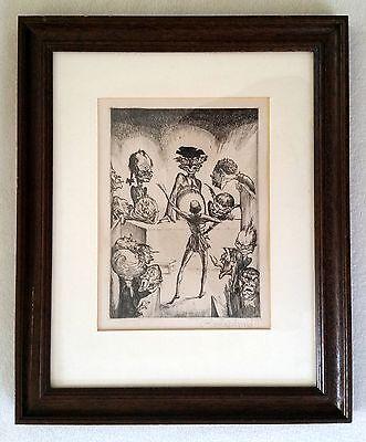 """Karikatur/ """"Die Nachtwachen des Bonaventura"""" Druck, signiert, mit Rahmen"""