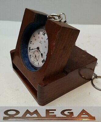 ANTIQUE MENS POCKET WATCH OMEGA SWISS MADE SOLID SILVER BOX CHAIN