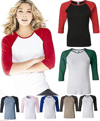 Bella Ladies New Size  Baseball Raglan 3 4 Sleeve T Shirt Tee Womens 2000