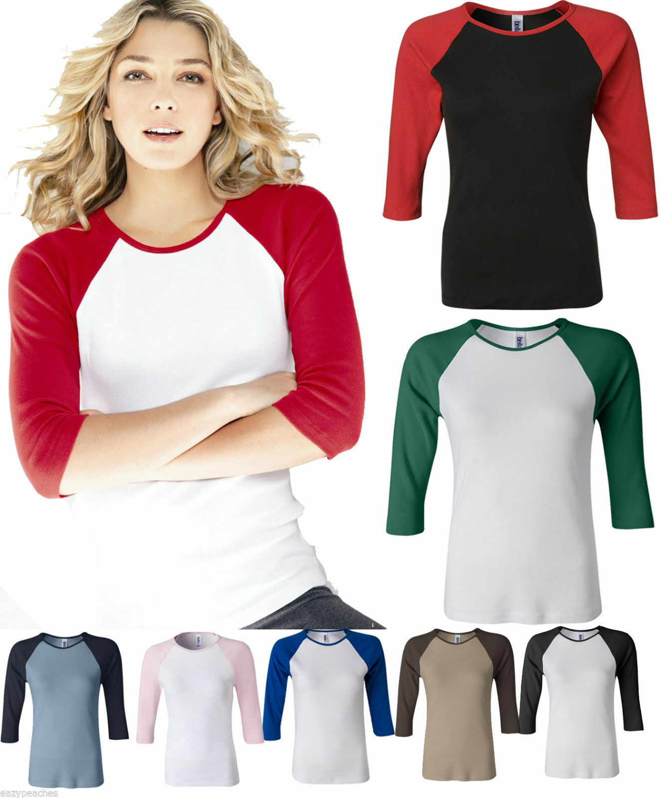 Bella Ladies NEW Size  Baseball Raglan 3/4 Sleeve T-Shirt TEE Womens 2000