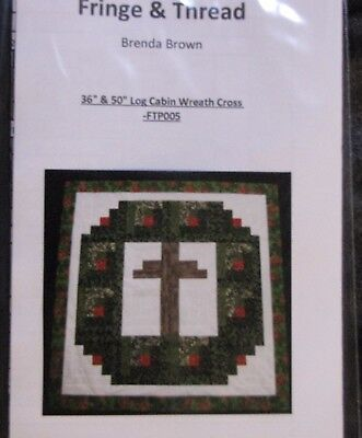 "Log Cabin Wreath Cross Quilt Top Pattern for 36"" & 50"" Quilt tops- Baby-Wall-Lap"