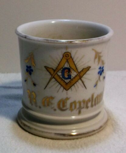 Masonic Occupational Shaving Mug Tressemann & Vogt Limoges HP R.C.Copeland 1890s