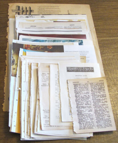 63 VINTAGE BOOK PAGES GREAT FOR COLLAGE, JUNK JOURNALS, EPHEMERA, ART SUPPLIES
