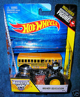 Hot Wheels 2014 Higher Education School Bus Monster Jam Truck Mini Figure New