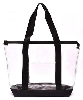 Clear Tote Bag - Top Zipper Closure, Long Shoulder Strap and Attractive Fabric - Cloth Tote Bags