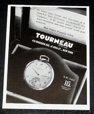 1944 OLD WWII MAGAZINE PRINT AD, TORNEAU 17 JEWEL LONGINES POCKET WATCH, HONOR!