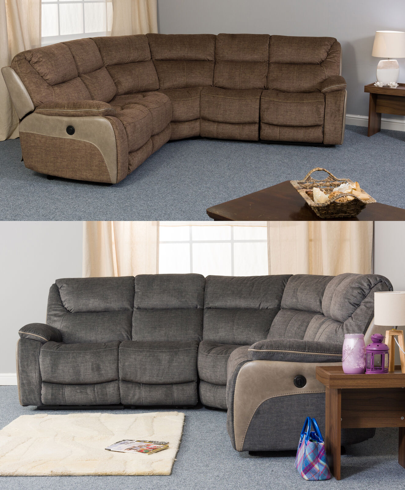 Details about Trieste Fabric Power Recliner Corner Sofa Comfort Various  Sizes and Colours