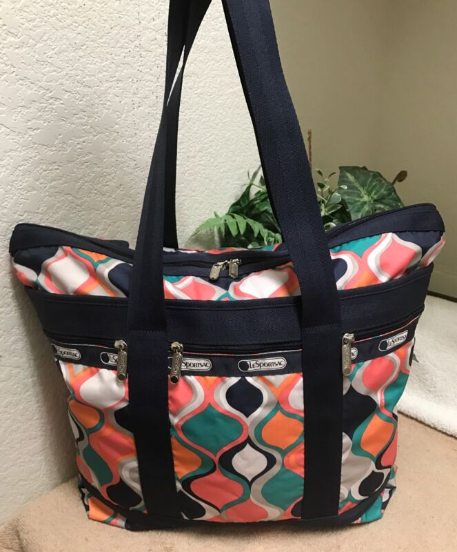 Lesportsac Medium Orange Carry All Tote Shopper Bag Shoulder Handbag Hourglass