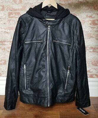 GUESS Men's Black Faux Leather Jacket Size XXL W Detachable Hood $225