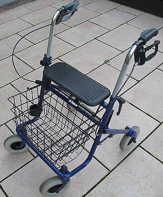 Rollator Gehhilfe faltbar Trendmobil mit Korb und einem Stockhalter  Farbe: Blau