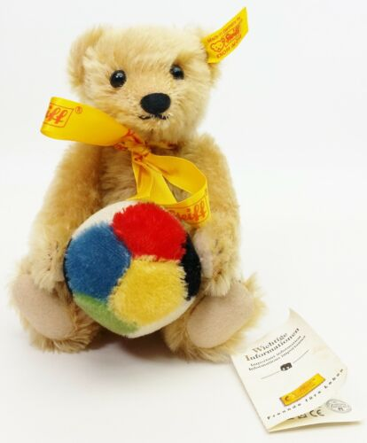 """Steiff 8"""" Fully Jointed Teddy Bear 1909 With Ball No. 676338"""
