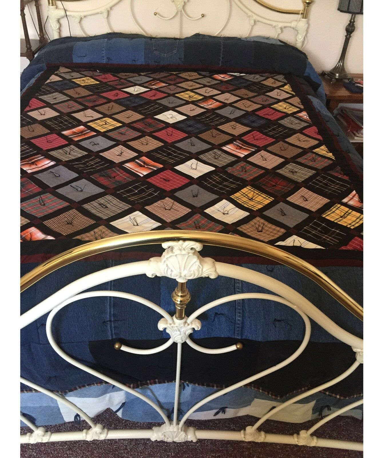 Queen Size Patchwork Quilt Handmade From Recycled Shirts, Dr