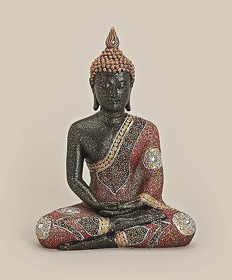 ® XL Thai Buddha Budda Figur Statue Feng Shui sitzend schwarz rot gold ca. 30 cm